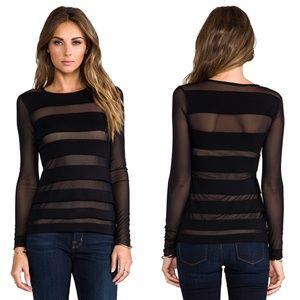 Bailey 44 Black Saturn Longsleeve Top Sheer Shirt